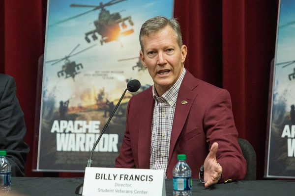 Billy Francis, director of the Student Veterans Center at the press availability of FSU Veterans Film Festival, Oct. 5, 2017. (FSU Photography Services)