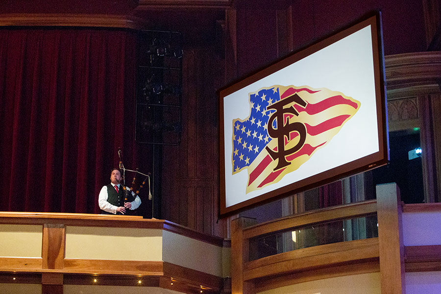 FSU student James Gray performs a bagpipe solo at the FSU Veterans Film Festival Oct. 5, 2017, at Ruby Diamond Concert Hall. (FSU Photography Services)