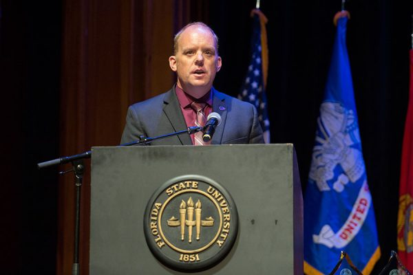 Chris Schoborg, director of the FSU Veterans Student Union, speaks at the FSU Veterans Film Festival Oct. 5, 2017, at Ruby Diamond Concert Hall. (FSU Photography Services)