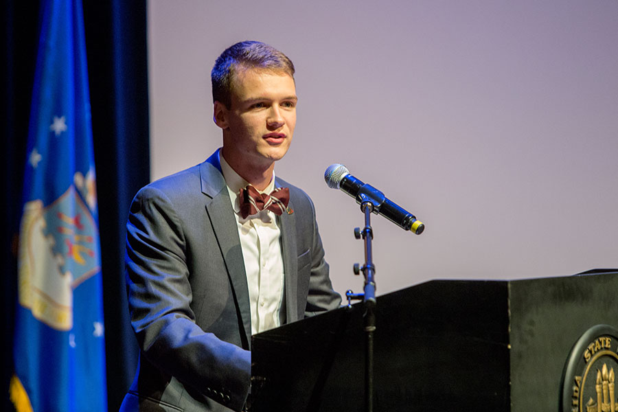 Kyle Hill, president of the FSU Student Government Association, speaks at the FSU Veterans Film Festival Oct. 5, 2017, at Ruby Diamond Concert Hall. (FSU Photography Services)