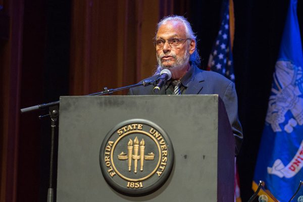 Paul Cohen, executive director of the FSU Torchlight Program, speaks at the FSU Veterans Film Festival Oct. 5, 2017, at Ruby Diamond Concert Hall. (FSU Photography Services)