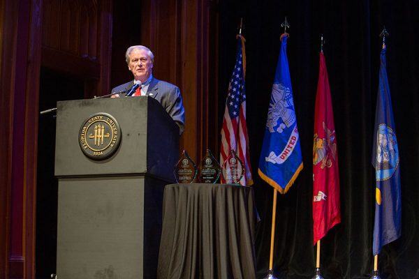 President John Thrasher, speaks at the FSU Veterans Film Festival Oct. 5, 2017, at Ruby Diamond Concert Hall. (FSU Photography Services)