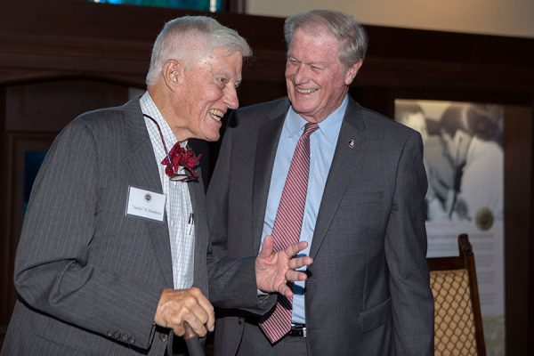 Former FSU President Sandy D'Alemberte and FSU President John Thrasher at the unveiling and dedication of Dodd Hall's newest stained-glass window Monday, Oct. 2, 2017. (FSU Photography Services)