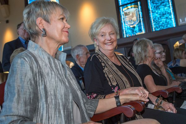 FSU first ladies Patsy Palmer and Jean Thrasher atat the unveiling and dedication of FSU Emeritus President Sandy D'Alemberte's stained-glass window Monday, Oct. 2, 2017, at Dodd Hall. (FSU Photography Services)