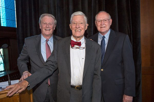 FSU President John Thrasher, President Emeritus Sandy D'Alemberte and former FSU President Dale Lick at the unveiling and dedication of Dodd Hall's newest stained-glass window Monday, Oct. 2, 2017. (FSU Photography Services)