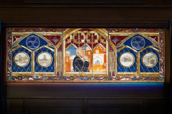 Unveiling and dedication of stained-glass window of FSU President Emeritus Sandy D'Alemberte Monday, Oct. 2, 2017, at Dodd Hall. (FSU Photography Services)