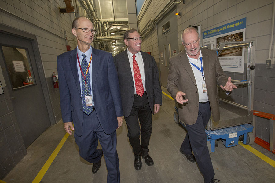 U.S. Rep. Neal Dunn toured the FSU-based National High Magnetic Field Laboratory with FSU Vice President for Research and Gary K. Ostrander and MagLab Deputy Director Eric Palm. (FSU Photography Services)