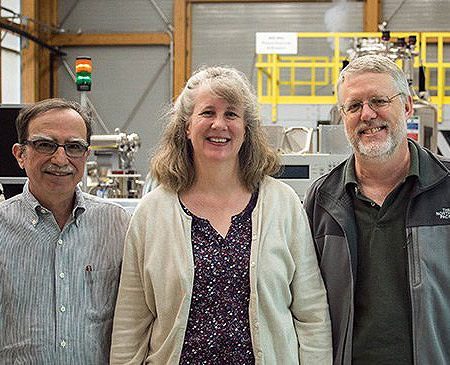From left: FSU Earl Freiden Professor of Chemistry Tim Cross, UF Professor Joanna Long and MagLab Research Faculty William Brey.