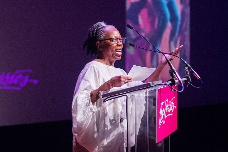 Jawole Willa Jo Zollar, FSU's Nancy Smith Fichter Professor in Dance, speaks after receiving a lifetime achievement award in dance at the 2017 Bessie Awards Oct. 9 in New York. (Photography by AK47 Division)
