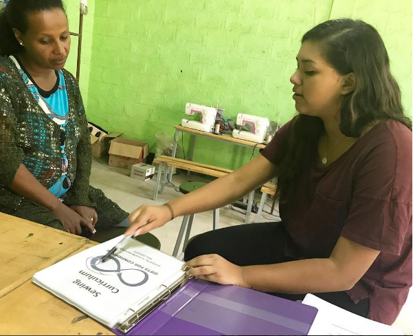 Jessica Bachansingh (right) spent time in Ethiopia over the summer teaching the sewing curriculum to students and teachers involved in Girls for Confidence.