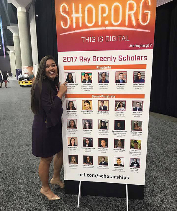Junior Jessica Bachansingh was named a finalist for the 2017 Ray Greenly scholarship, receiving a $10,000 scholarship and a trip to the National Retail Federation's annual conference in Los Angeles this past September.