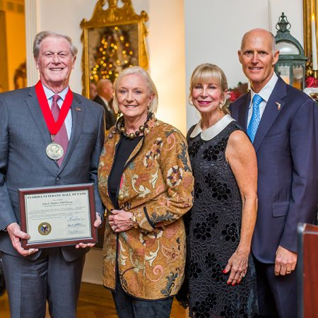 President John Thrasher, Mrs. Jean Thrasher, First Lady of Florida Ann Scott and Gov. Rick Scott at the Florida Veterans' Hall of Fame induction ceremony Monday, Nov. 27, 2017. (Photo: Office of Governor)