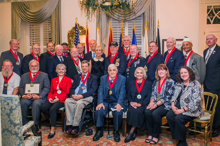 President John Thrasher and his fellow inductees with Gov. Rick Scott at the Florida Veterans' Hall of Fame induction ceremony Monday, Nov. 27, 2017. (Photo: Office of Governor)