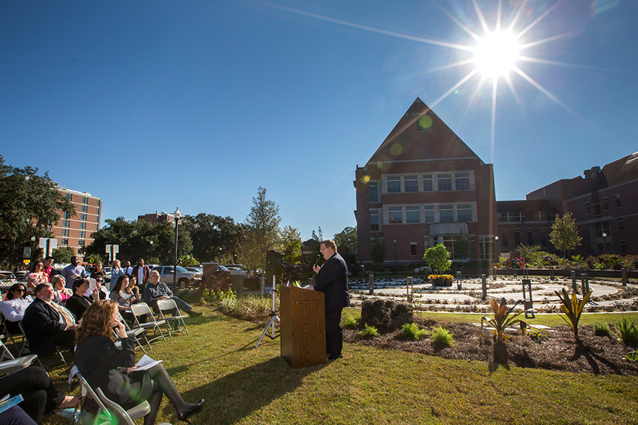 Kyle Clark, vice president for Finance and Administration, speaks at the grand opening of the FSU Labyrinth, located on West Call Street between the College of Medicine and the Psychology Building, on Thursday, Nov. 2. (FSU Photography Services)