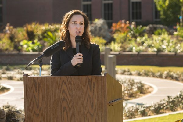 Amy Hecht, vice president for Student Affairs, speaks at the grand opening of the FSU Labyrinth, located on West Call Street between the College of Medicine and the Psychology Building, on Thursday, Nov. 2. (FSU Photography Services)
