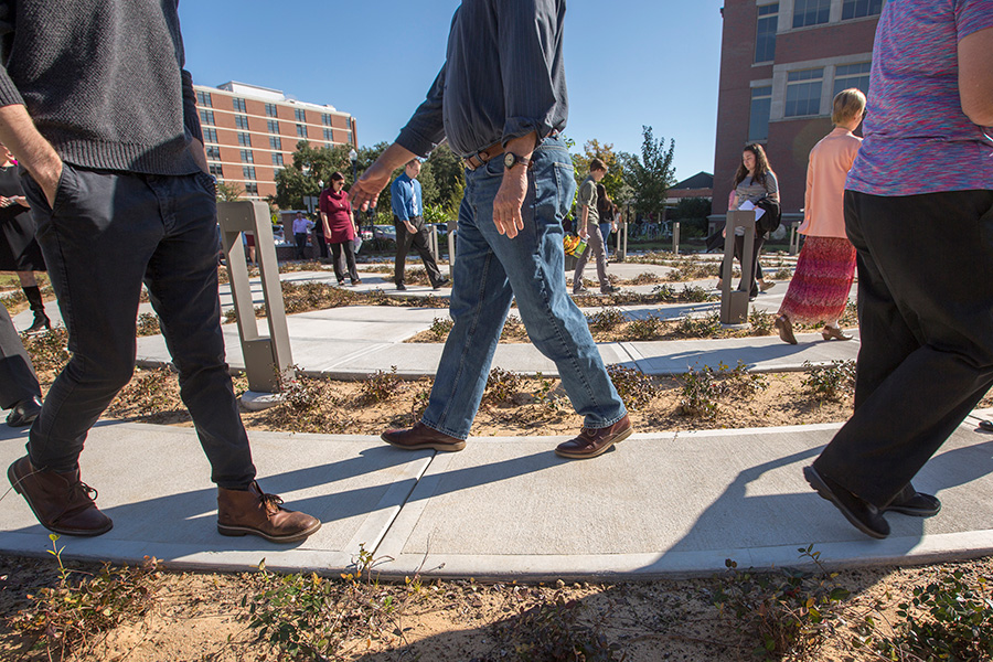 The Florida State campus community celebrates the grand opening of the FSU Labyrinth, located on West Call Street between the College of Medicine and the Psychology Building, on Thursday, Nov. 2. (FSU Photography Services)