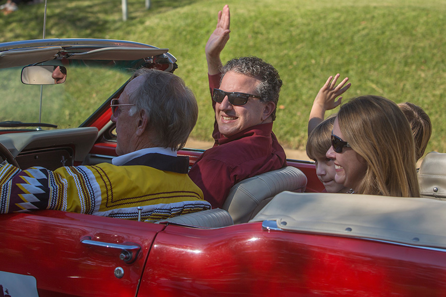 State of Florida Chief Financial Officer Jimmy Patronis serves as grand marshal of the Florida State University 2017 Homecoming Parade. (FSU Photography Services)