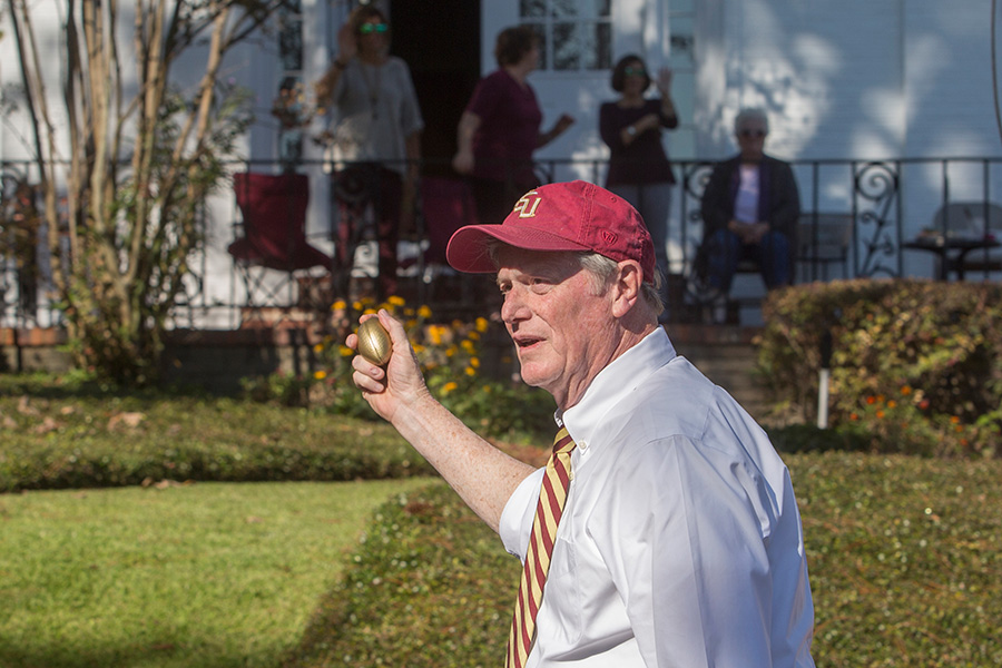President John Thrasher at the Florida State University 2017 Homecoming Parade. (FSU Photography Services)
