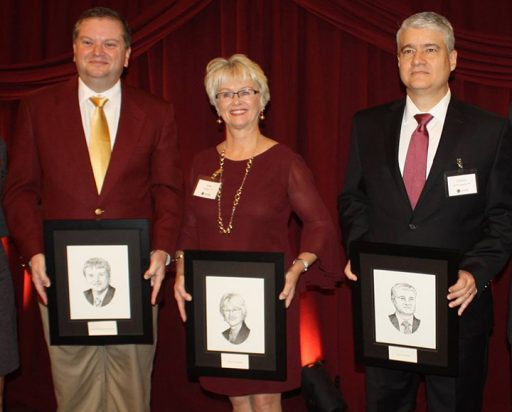 The Grads Made Good Award, co-sponsored by the FSU Alumni Association and FSU's Omicron Delta Kappa Circle, honors alumni who have made a significant difference in their fields. The 2017 Grads Made Good are (from left), Damon Andrew (Ph.D. '04), Sandra Dunbar (B.S. '72) and Dulcidio de la Guardia (B.S. '84). (Photo: FSU Alumni Association)