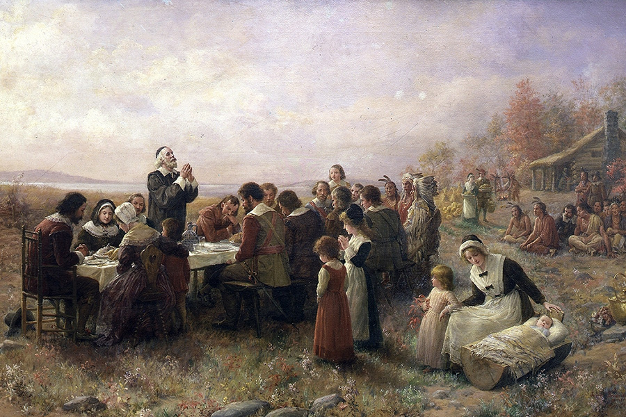 "Jennie A. Borwnscombe's ""The First Thanksgiving at Plymouth"" (1914) depicts an idyllic scene of colonists and Native Americans gathered in friendship for a lavish meal. There's only one problem: The story of the first Thanksgiving is a myth."