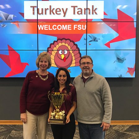 Junior Hannah King (middle) helped lead the FSU team to victory in the first-ever Turkey Tank competition Monday, Nov. 20.