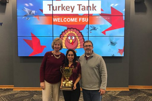 JuniorHannah King (middle) helped leadthe FSU team to victory in the first-ever Turkey Tank competition Monday, Nov. 20.