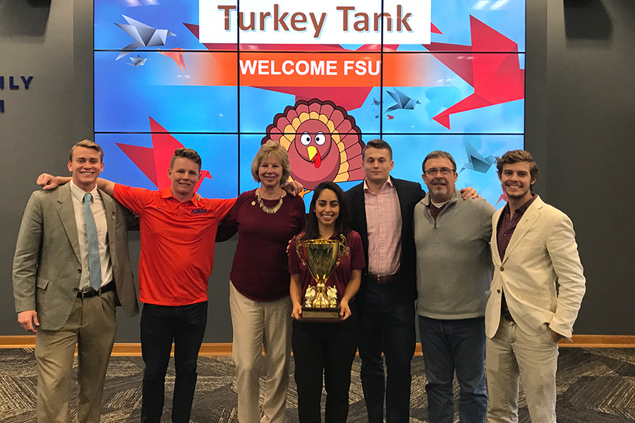 Students from FSU's Jim Moran School of Entrepreneurship squared off against UF students in the first-ever Turkey Tank Competition in Gainesville Monday.