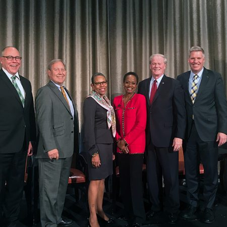 President John Thrasher (second from right) represents FSU in a panel discussion with presidents from 2017 Simon Award-winning institutions Nov. 14 in Washington, D.C.