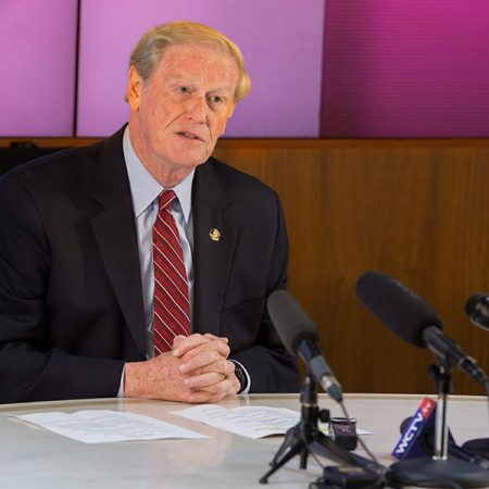 Florida State University President John Thrasher announces he is imposing an indefinite interim suspension on all fraternities and sororities at FSU effective immediately at a news conference Monday, Nov. 6, 2017, at the Westcott Building. (FSU Photography Services)