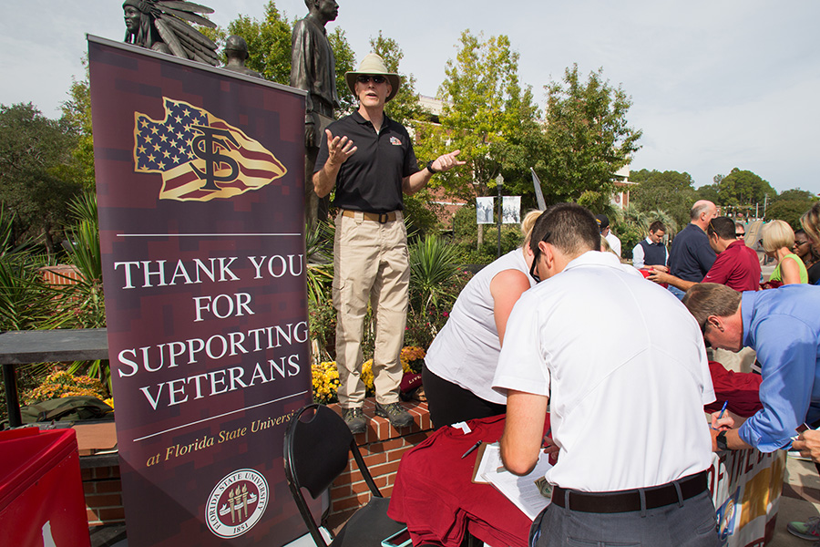 Student Veterans Center Director Billy Francis speaks at the United Way Vets Walk on campus in November 2016. (FSU Photography Services)