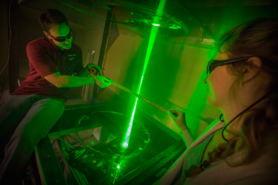 Students take laser measurements in FSU's Florida Center for Advanced Aero-Propulsion.