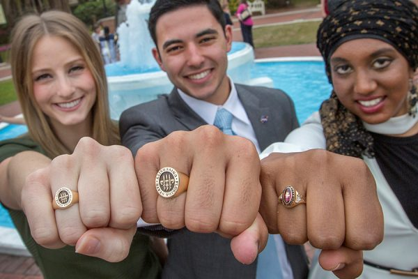 FSU graduating students participate in the traditional Ring Ceremony where the soon-to-be alumni dip their class rings in the Westcott fountain.