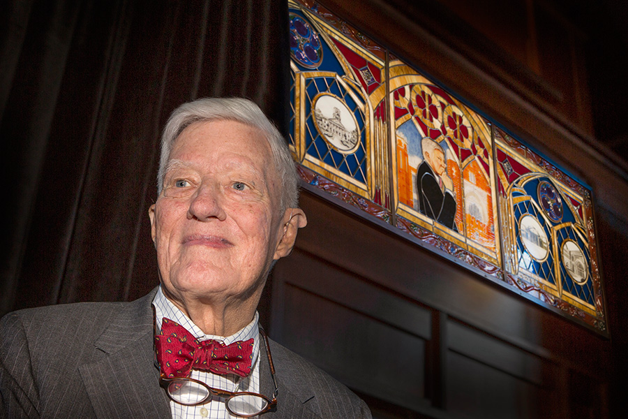 The image of former Florida State University president Sandy D'Alemberte will be preserved forever in a new stained glass window in Dodd Hall, the school's original library.