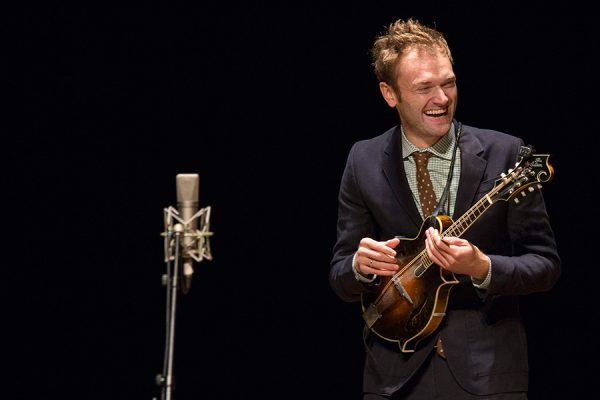 Chris Thile performs on mandolin during an Opening Nights Performing Arts presentation.