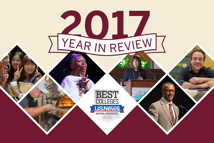 "2017 Year in Review: (from left) international students gather at The Globe; celebrity chef Art Smith cooks at FSU's ""1851""; Jawole Willa Jo Zollar earns lifetime achievement award; FSU leaps ahead in rankings; Second Lady Karen Pence announces art therapy initiative; Willie Taggart becomes new FSU football coach; Professor Gregory Erickson discovers new facts about dinosaurs."