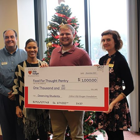 Sodexo USA representatives presented the FSU Food for Thought Pantry with a $1,000 check to help assist students facing food disparity. (Photo: FSU Dining Services)