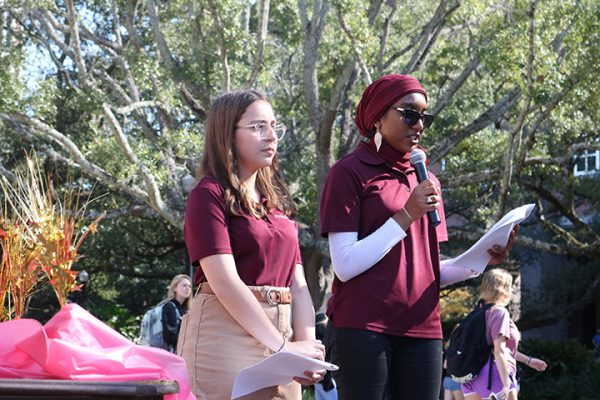 Isa Colli, vice chair of the Power of WE, FSU culinary ambassador Art Smith and Inam Sakinah, founding chair of Power of WE addressed students at the Longest Table event. (Photo: FSU Social Media)