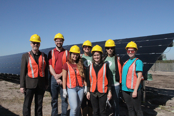 Members of the FSU community went to tour the new City of Tallahassee solar farm. From left: Jim Stephens, Reynold Bartel, Desiree Caceres, Elizabeth Swiman, Jacqueline Bucheck, Jamie Valentine and Christiana Akins) (Photo Credit: City of Tallahassee)