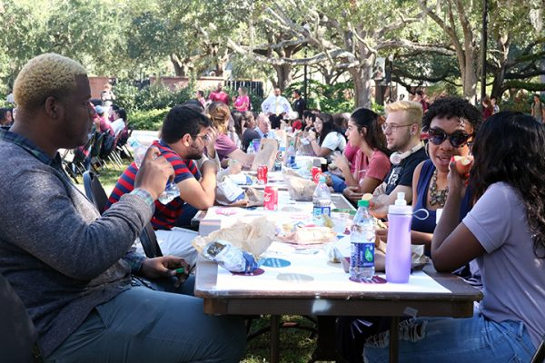 Students chatted while enjoying lunch, creating the perfect platform to explore and examine their different opinions about issues in the world and on campus. (Photo: FSU Social Media)