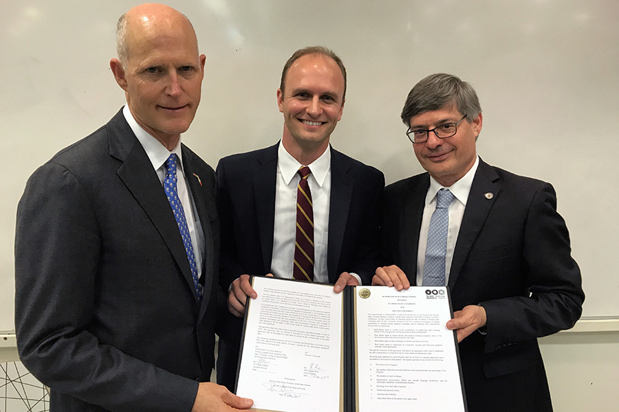 Florida Gov. Rick Scott, FSU Assistant Provost Joe O'Shea and Professor Raanan Rein, vice president of Tel Aviv University, in Tel Aviv Monday, Dec. 4. (Photo: Office of Governor)