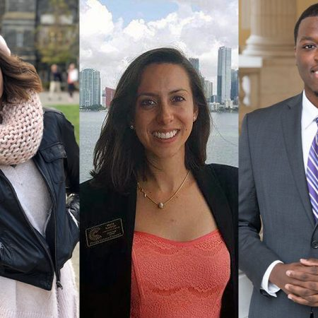 "Senior Ljubica ""Kiki"" Nikolic and recent alumni Maria Clara Naranjo and D'Juan Sampson are three of the 30 students selected as 2017 Rangel Fellows after a highly competitive nationwide process."