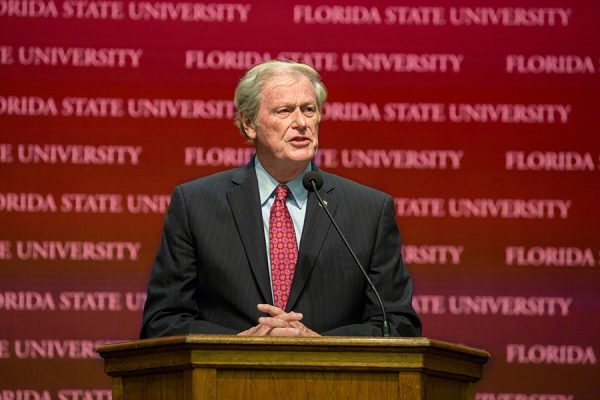 President John Thrasher delivers the State of the University address at a Faculty Senate meeting Dec. 6, 2017. (FSU Photography)