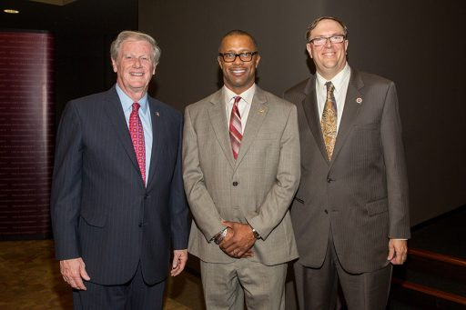 President John Thrasher, new FSU football coach Willie Taggart and Faculty Senate President Todd Adams at the State of the University on Dec. 6, 2017. (FSU Photography)
