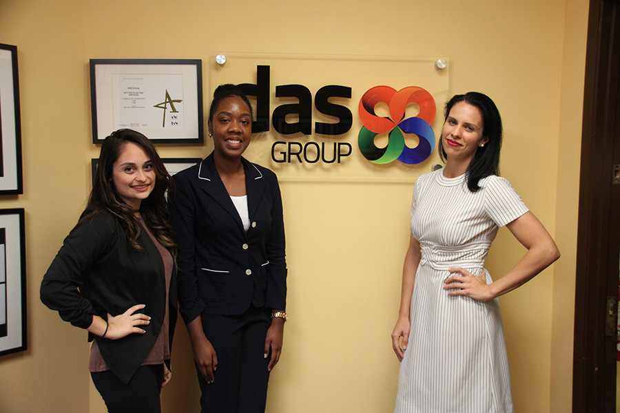 Adia Celestine, a junior majoring in information communication and Marcia Miles, a senior, majoring in economics, with their host from the Das Group. (Photo Credit: Career Center)