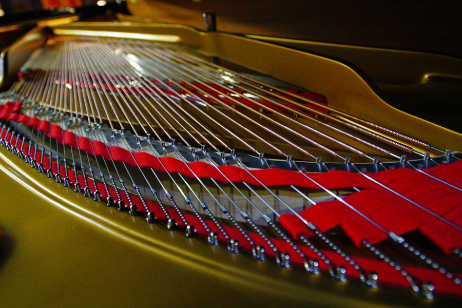 The Steinway grand piano is built by hand and includes more than 12,000 parts.