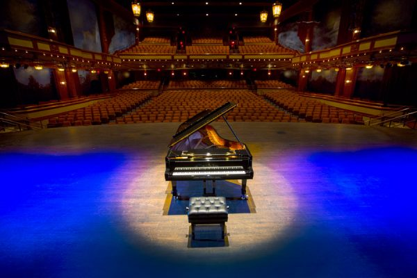 One of the new Steinway grand pianos is located in Ruby Diamond Concert Hall. (Bruce Palmer, FSU Photography Services)