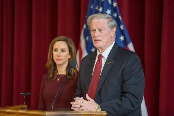 President John Thrasher and Vice President for Student Affairs Amy Hecht discuss reforms on Greek Life at a news conference Jan. 29, 2017. (FSU Photography Services)