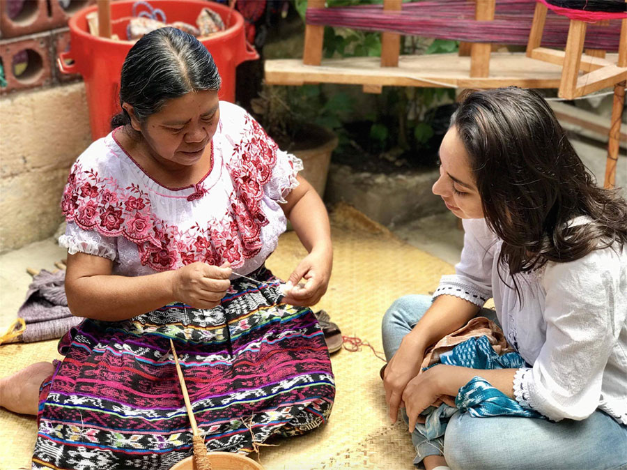 King founded Woven Futures, a platform that ethically promotes the trading of globally sourced and handmade artisan crafts in partnership with local women in Guatemala in order to support their economic endeavors.