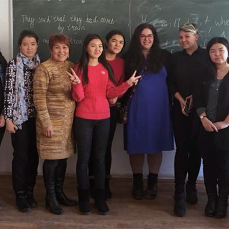 More than 800 FSU alumni have served in the Peace Corps, including Amanda Moses (Center), who is currently serving as an English teacher in the Kyrgyz Republic. (Photo: Peace Corps)