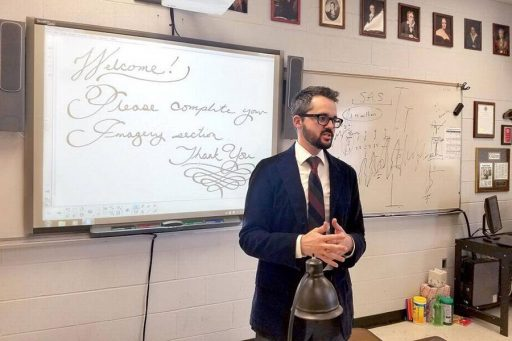 FSU alumnus Bobbie Cavnar, the winner of the NEA Member Benefits Award for Teaching Excellence, in his classroom at South Point H.S. in North Carolina.